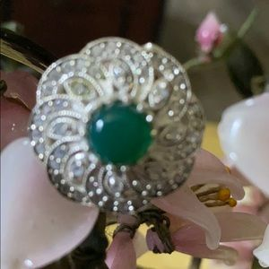 Vintage 925 green onyx & CZ ring